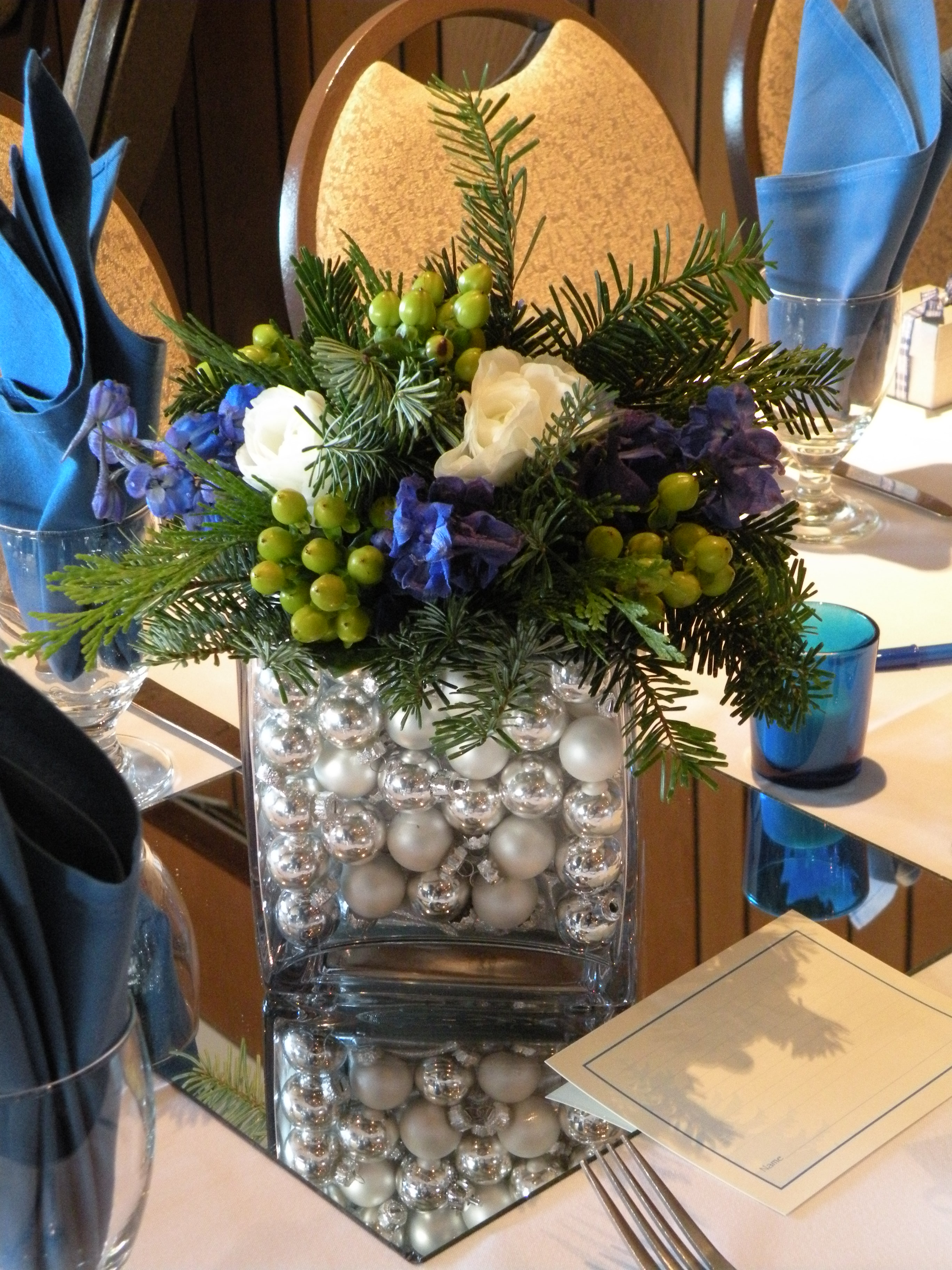 Blue silver christmas greens a december wedding jen White christmas centerpieces