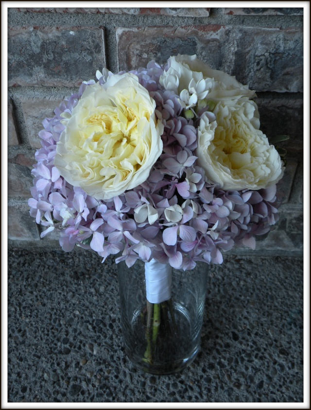 Hydrangea and garden roses bouquet