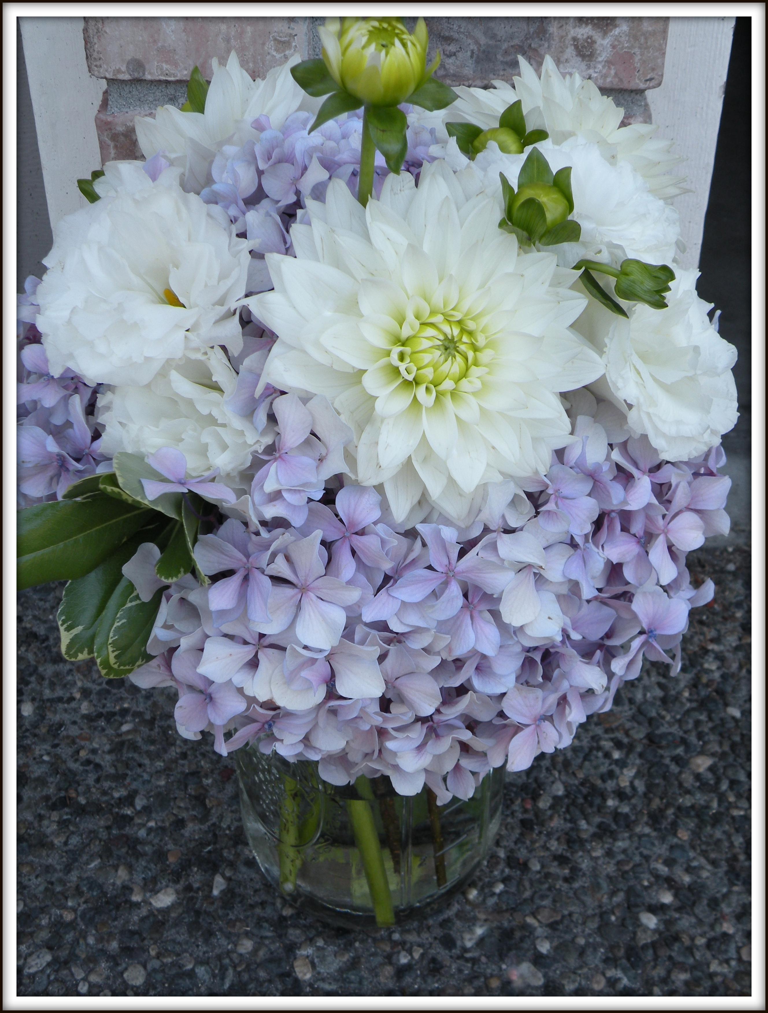 hydrangea bouquets jar centerpieces a real wedding jen s blossoms