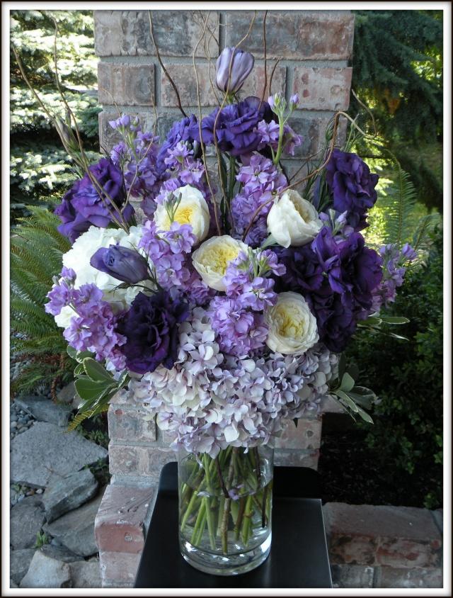 Hydrangea and garden rose arrangement