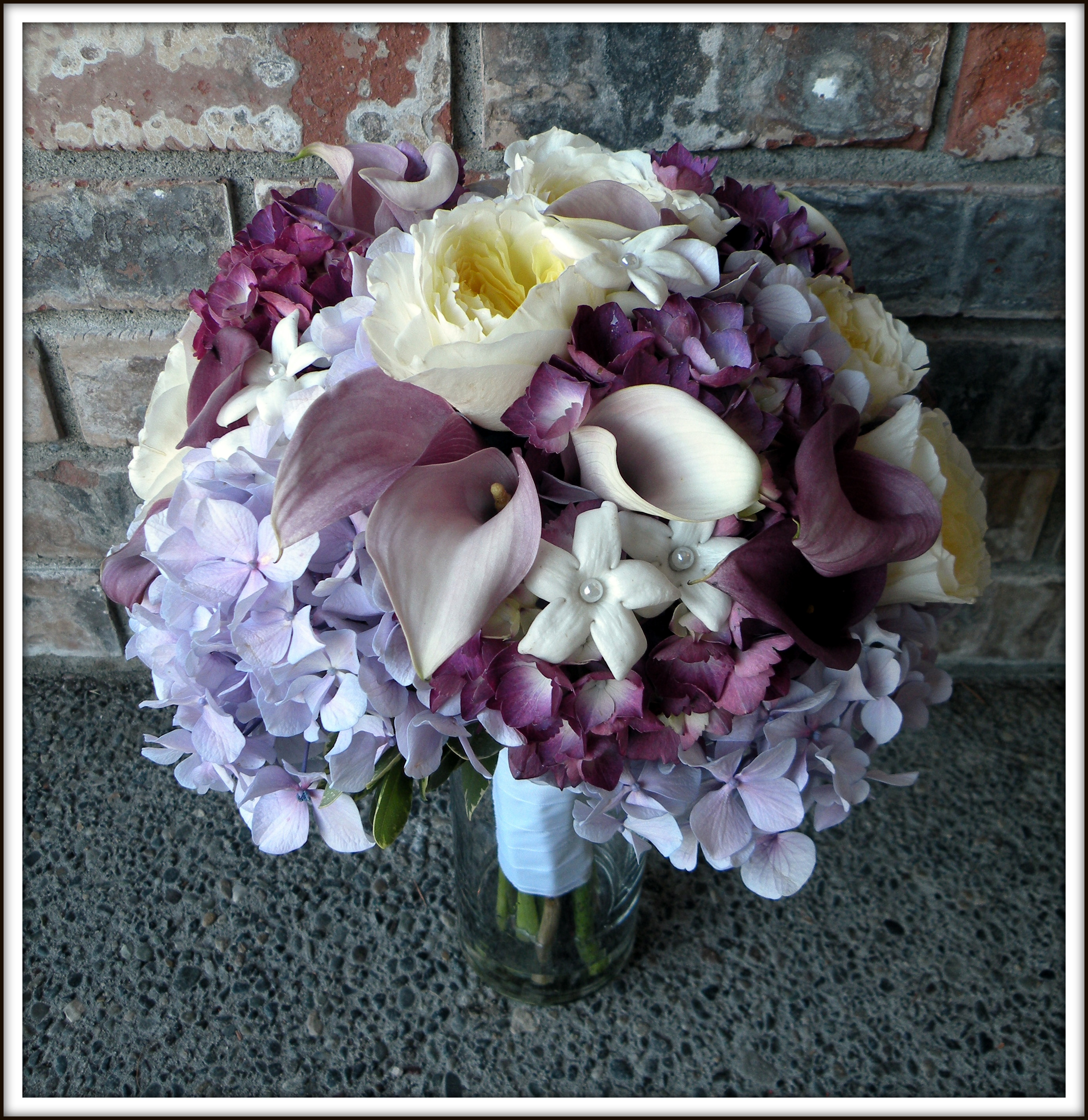 Purple lavender bouquets real wedding jens blossoms blog hydrangea and garden rose bouquet the maid of honor bridesmaid bouquets izmirmasajfo Choice Image