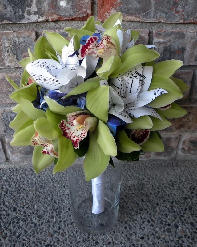 Green cymbidium orchid paper flower bouquet a real wedding bridesmaid bouquets mightylinksfo