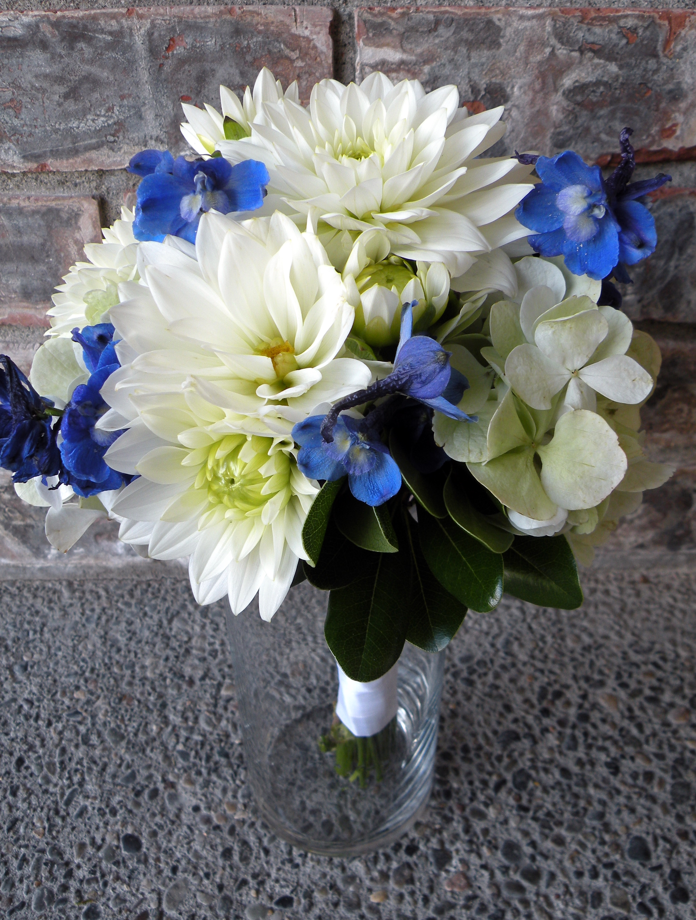 Green cymbidium orchid paper flower bouquet a real for White and blue flower bouquet