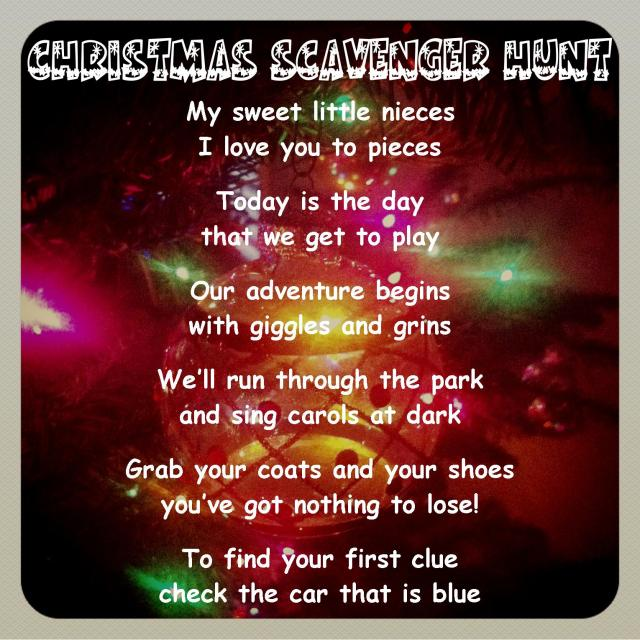 Christmas Scavenger Hunt Poem