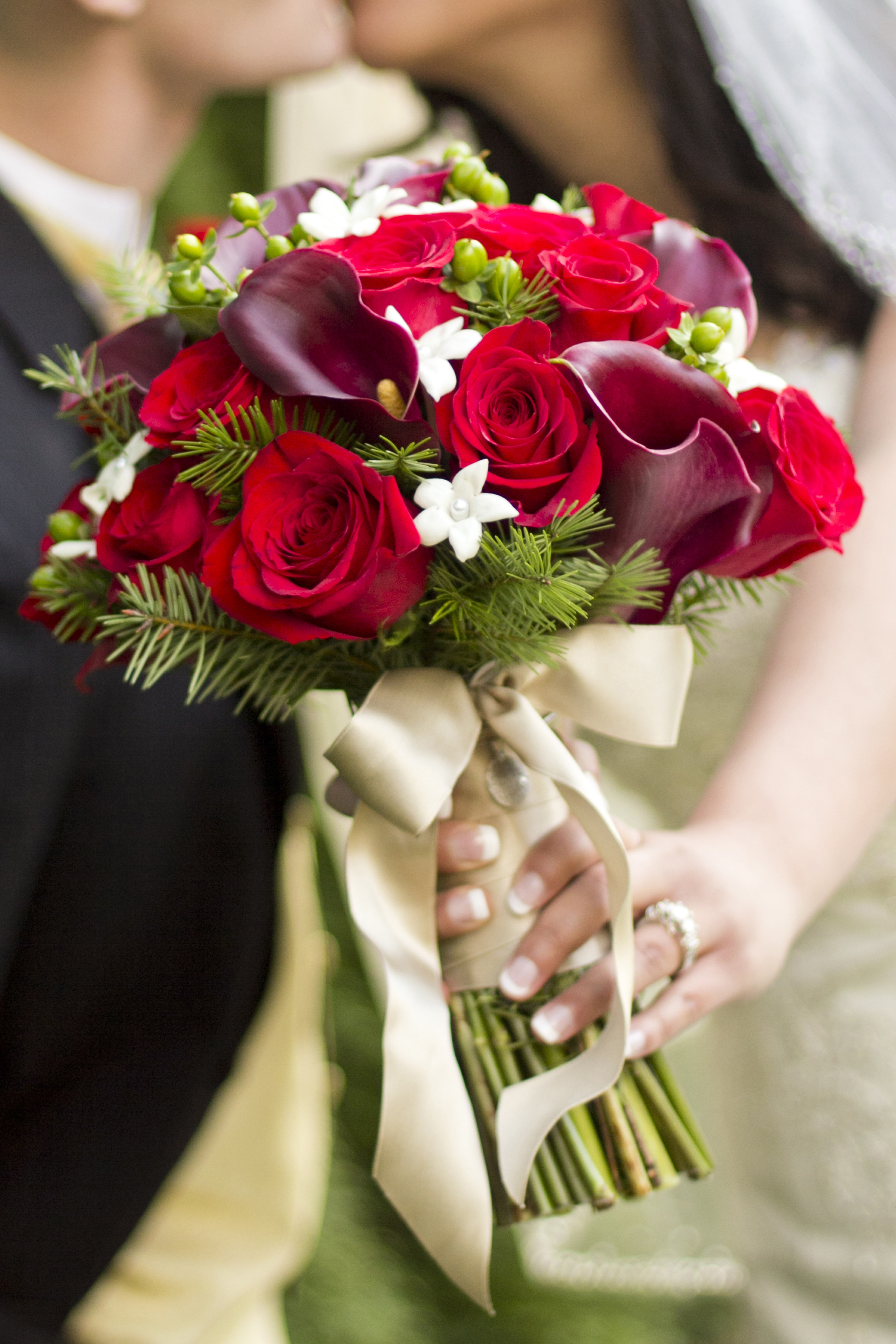 Red roses calla lily bouquet real wedding jen s