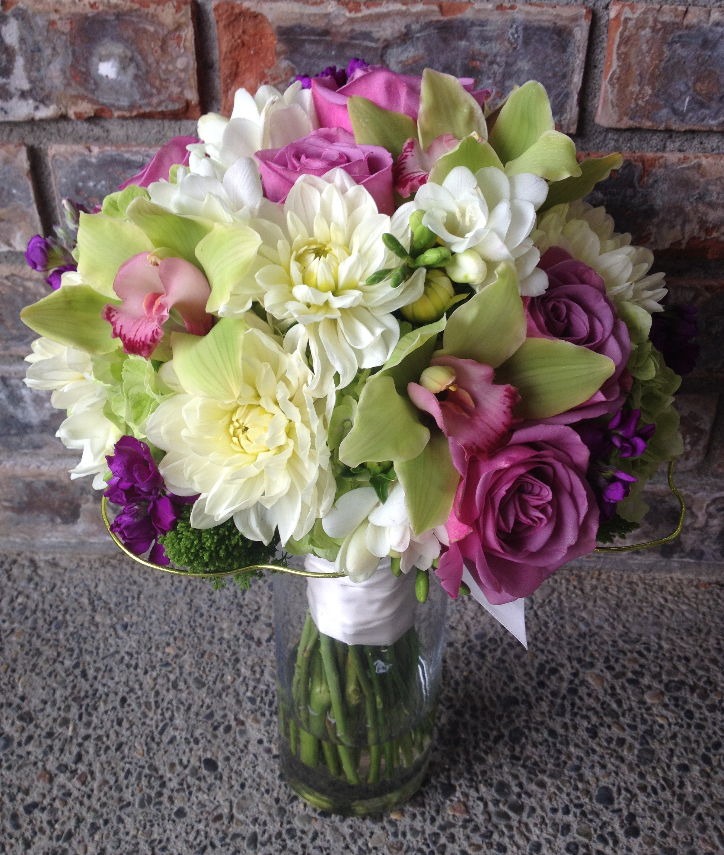 An apple green purple white bouquet jen s blossoms