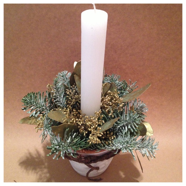 Taper Candle Centerpiece in Terracotta Pot