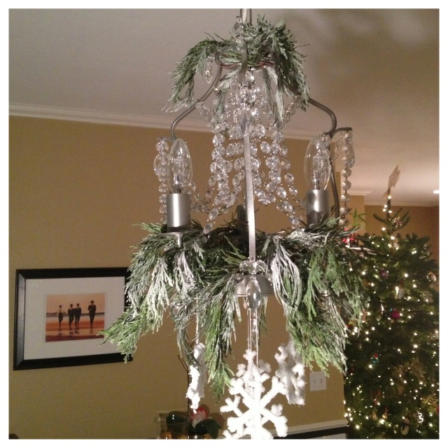 Snowflake and Snowy Branch Chandelier