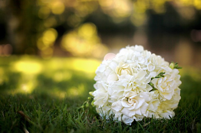 White hydrangea & Gardenia Bridal Bouquet