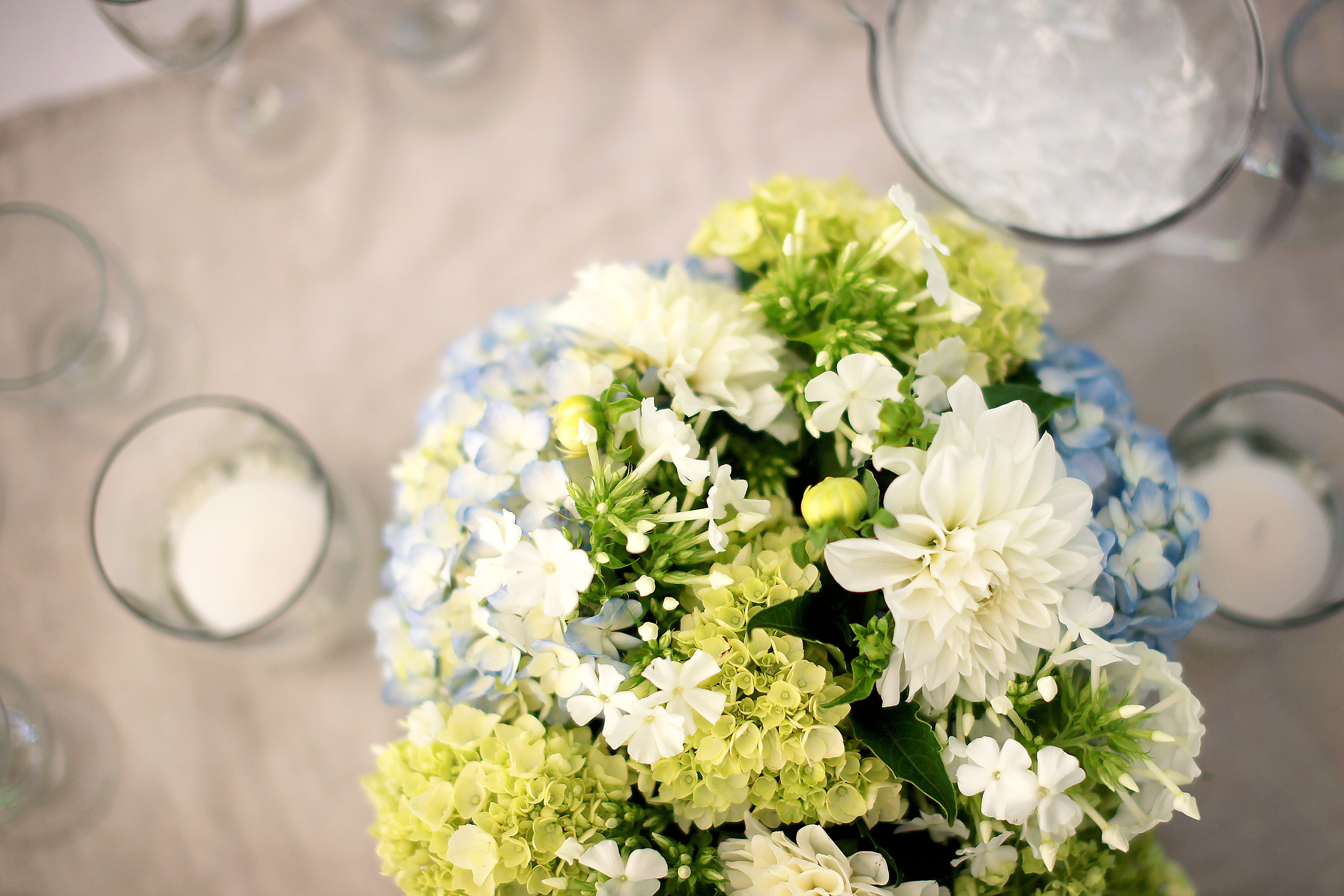 Blue green with a rustic touch real wedding jen 39 s - Blue and white centerpieces ...
