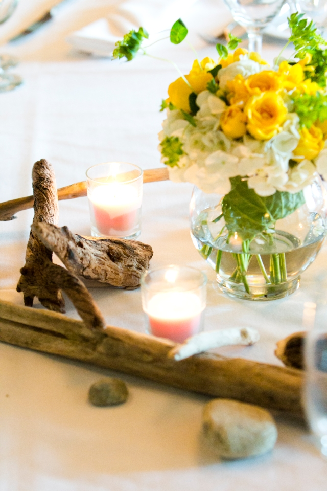 Driftwood and Flower Centerpiece