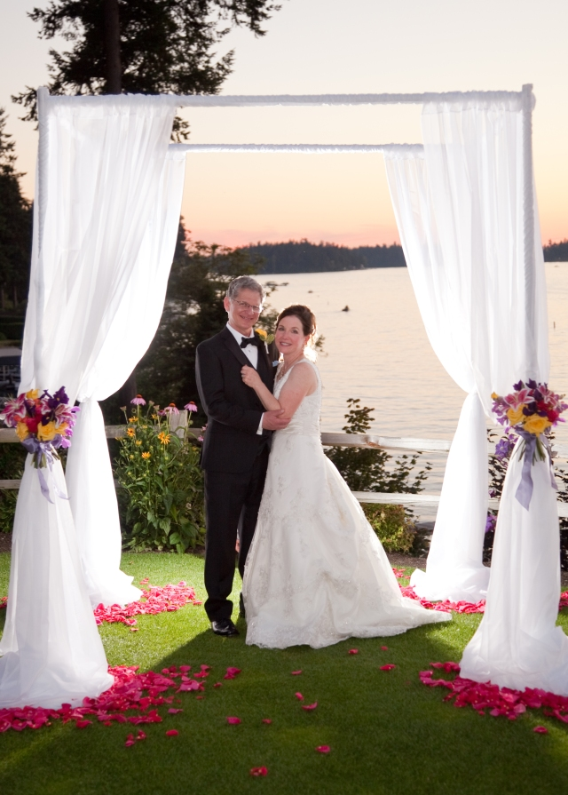 Sunset Wedding Couple at Tacoma Country Club