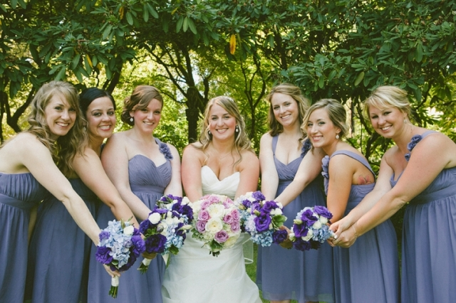 Bride and Bridesmaids at Lakewold Gardens