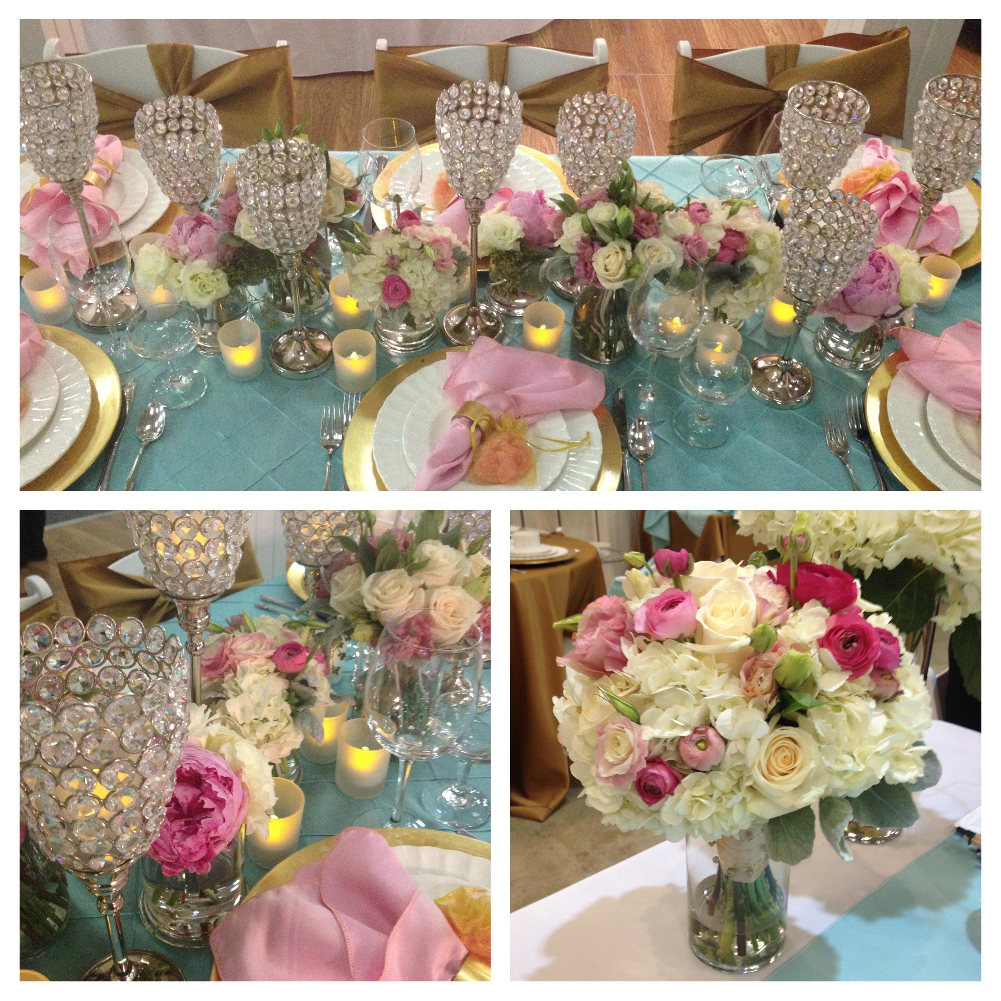 Pink aqua gold tabletop inspiration jen s blossoms