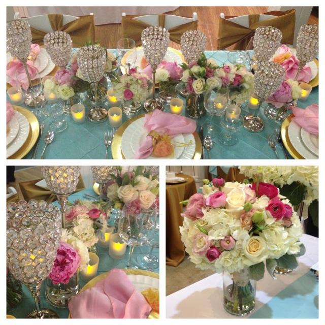 Pink, Aqua & Gold Centerpieces