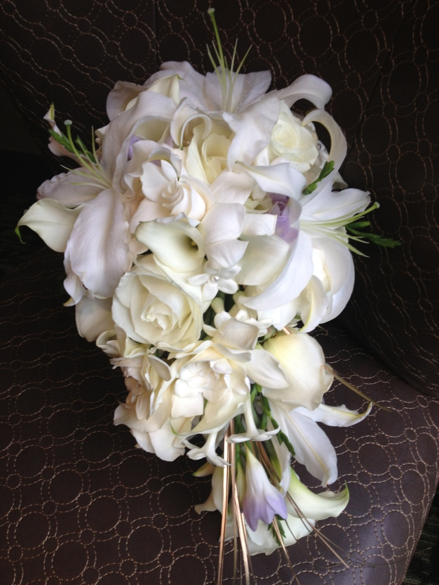 White and Lavender Cascade Bouquet