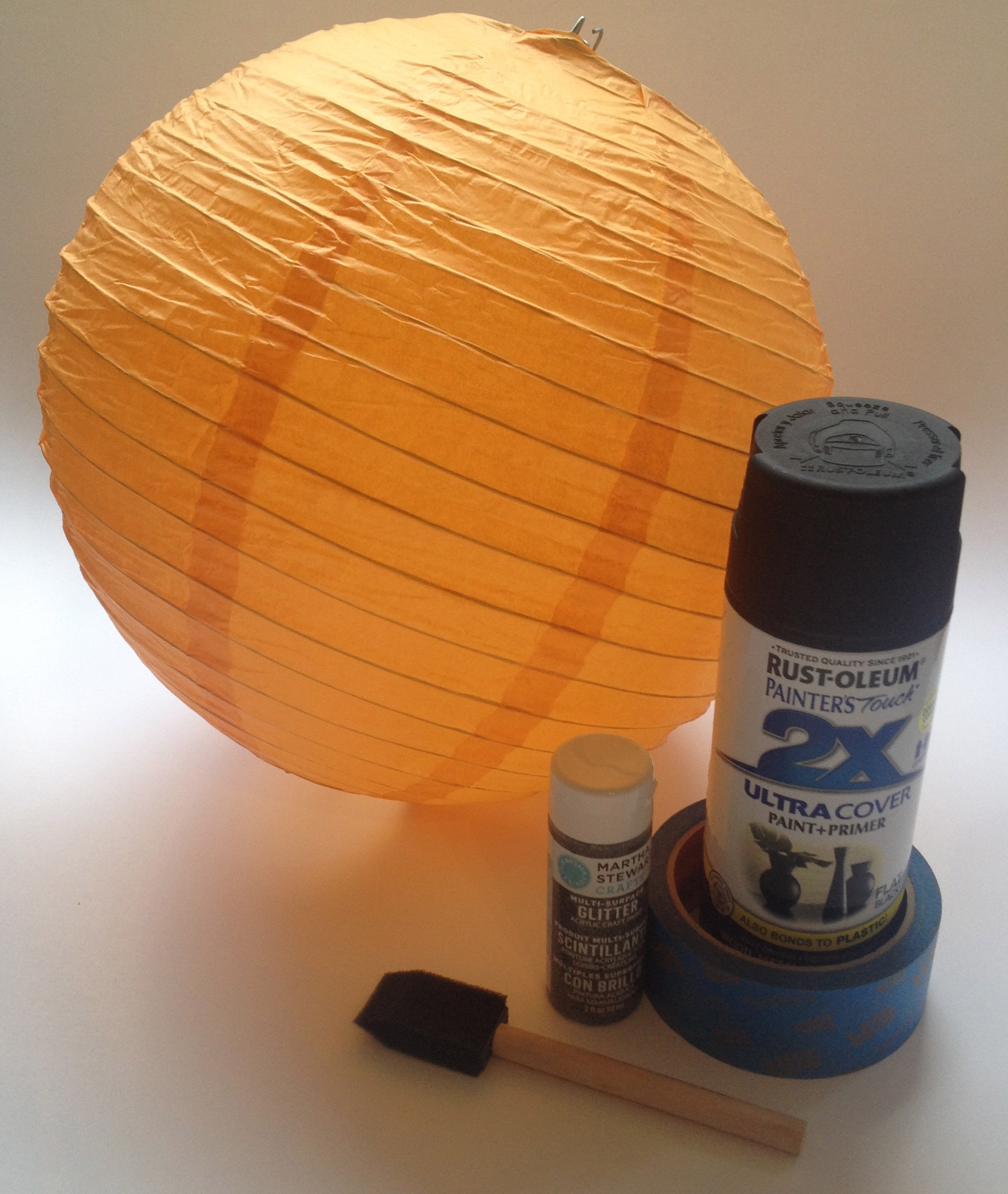 Painted paper lantern 3 days of halloween crafting jen - Paper lantern paint color ...