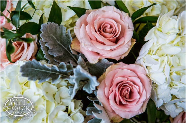 White Hydrangea, Dusty Miller, Light Pink Roses, and Ruscus | Photo by: Wallflower Photography