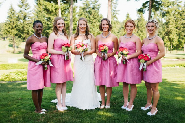 Canterwood Bride with Bridesmaids; photo by Jeff Marsh || flowers by Jen's Blossoms