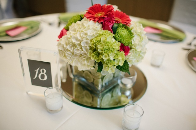 Pink and Green Centerpiece at Canterwood, photo by Jeff Marsh || flowers by Jen's Blossoms