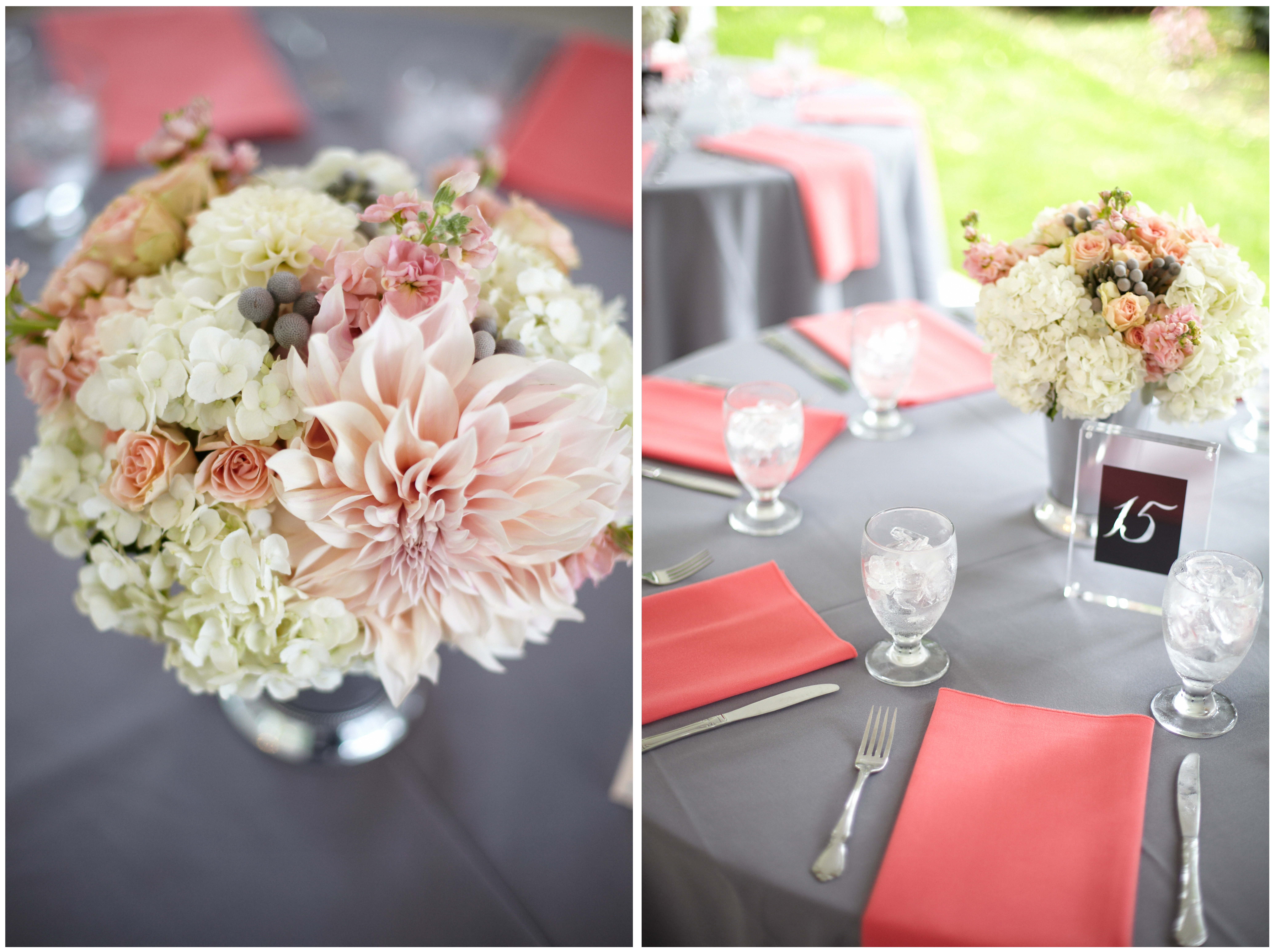 Coral Gray Centerpiece By Jens Blossoms
