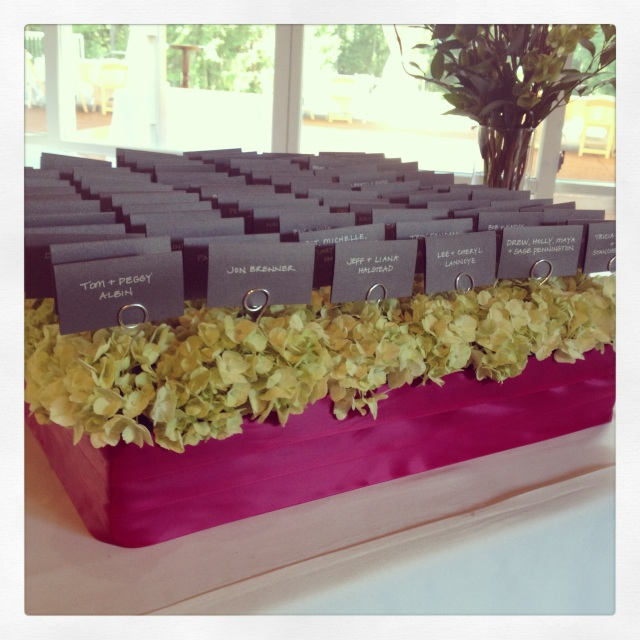 Green Hydrangea Escort Card Display || by Jen's Blossoms