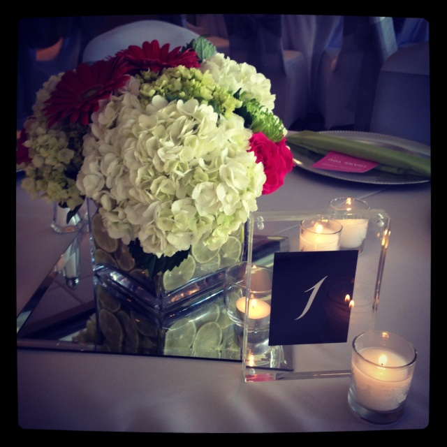 Acrylic Table Number & Centerpiece || by Jen's Blossoms