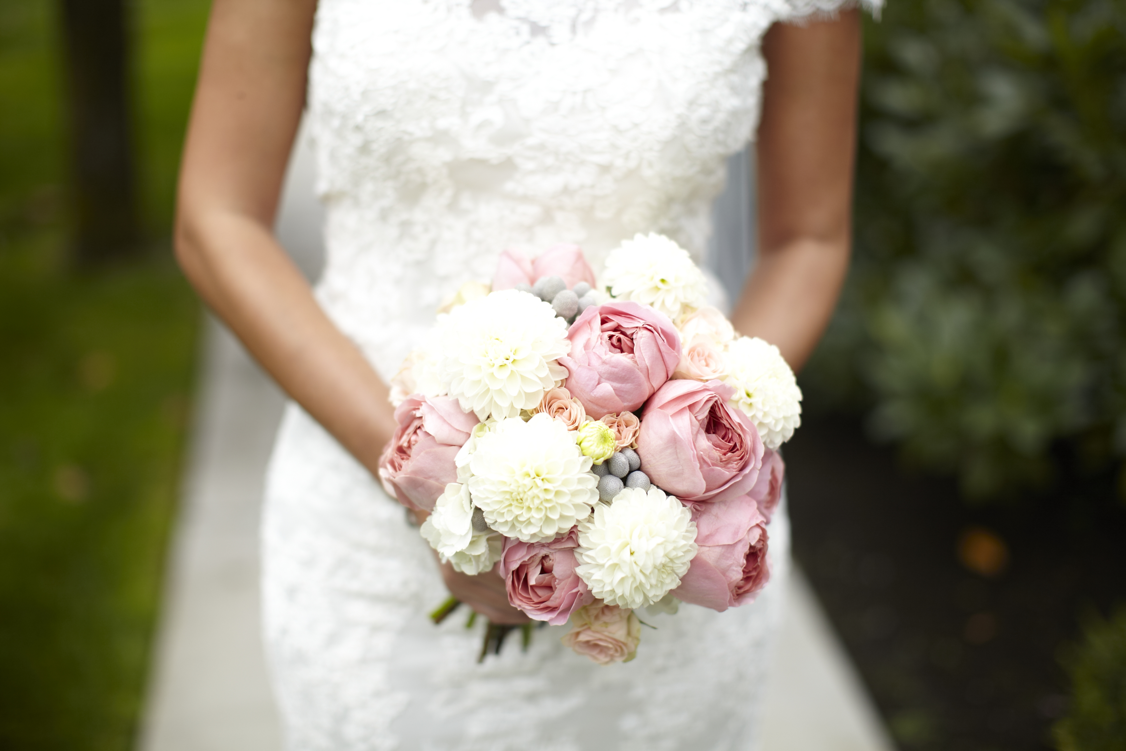 pink garden rose and hydrangea bouquet