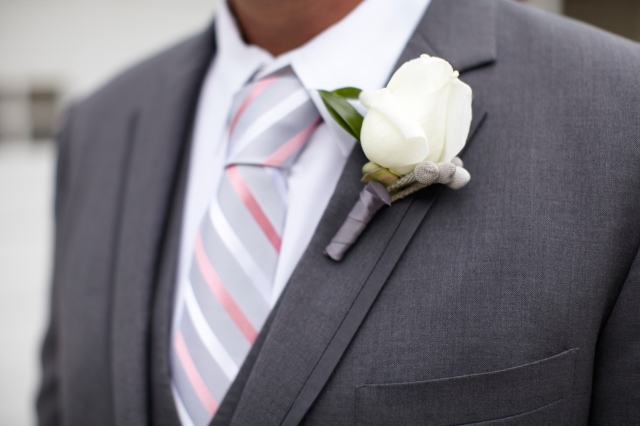 White Rose with Silver Brunia Boutonniere by Jen's Blossoms || photo © Kate Price Photography