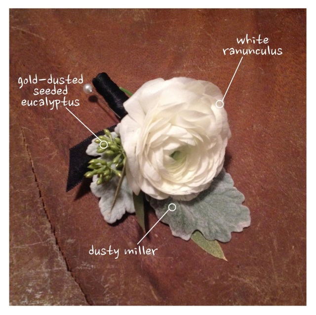 White Ranunculus & Dusty Miller Boutonniere || by Jen's Blossoms