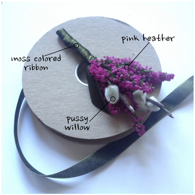 Pink Heather & Pussy Willow Boutonniere by Jen's Blossoms