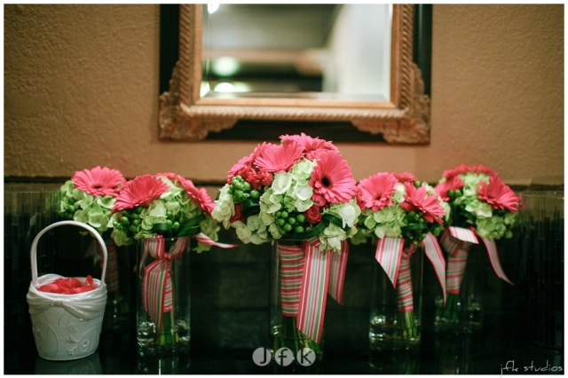 Hot Pink & Green Bouquets with Stripped Ribbon by Jen's Blossoms   photo by JFK Studios