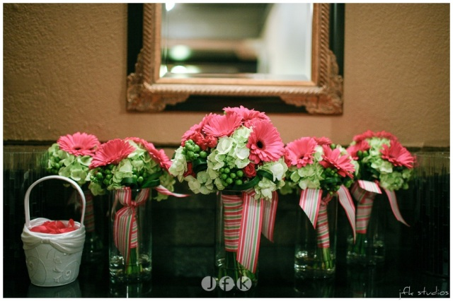 Hot Pink & Green Bouquets with Stripped Ribbon by Jen's Blossoms | photo by JFK Studios