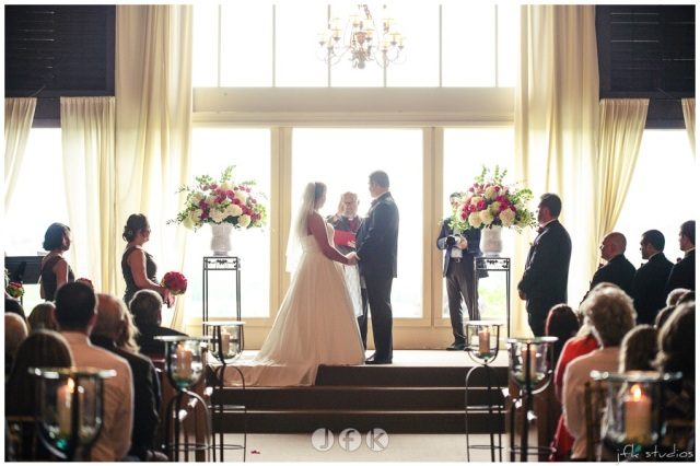 Wedding Ceremony at Lord Hill Farms; photo by JFK Studios   flowers by Jen's Blossoms