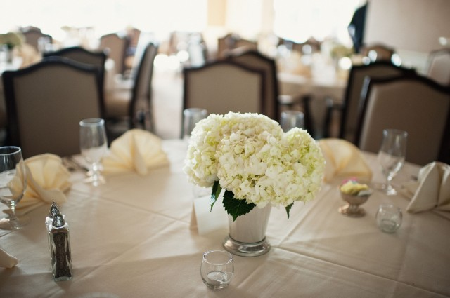 White Hydrangea Centerpiece by Jen's Blossoms | photo by Jeremy Leffel