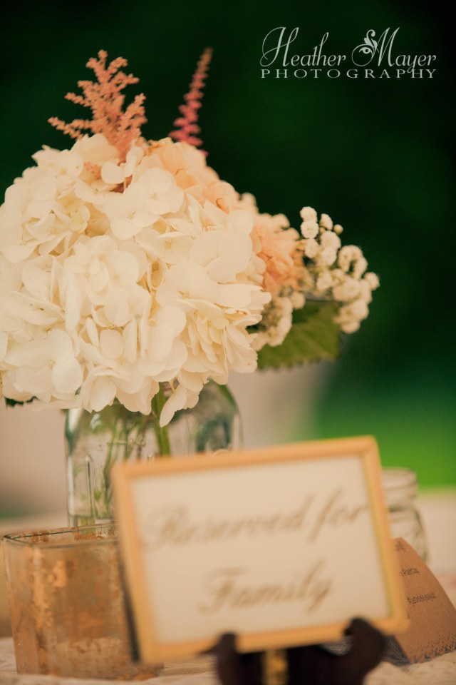 Mason jar with hydrangea, astilbe, dahlias & baby's breath by Jen's Blossoms | photo by Heather Mayer Photography