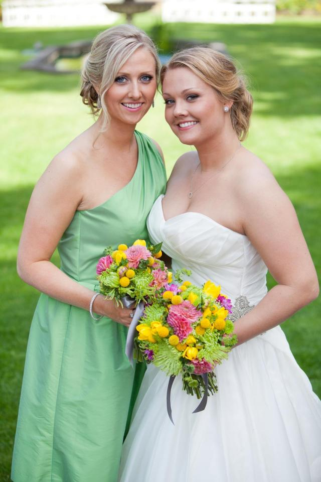Green, Pink & Yellow Bouquets by Jen's Blossoms | photo © Fike Fotography