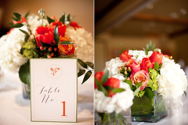 White, Green & Orange Centerpieces by Jen's Blossoms | © Kimberly Kay Photography