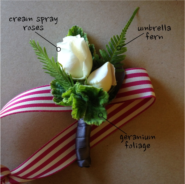 Cream Spray Rose & Geranium Boutonniere by Jen's Blossoms