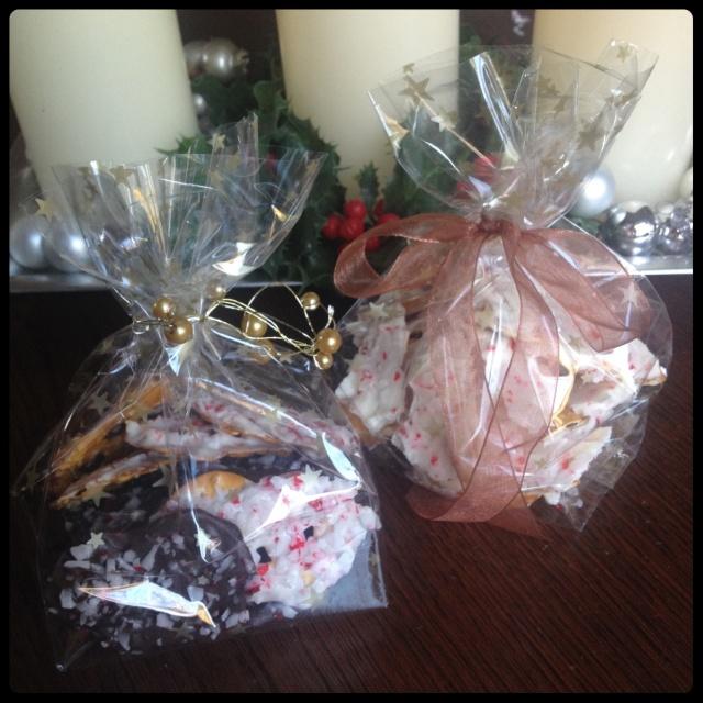 Chocolate & Candy Cane Pretzel Crisp Gifts
