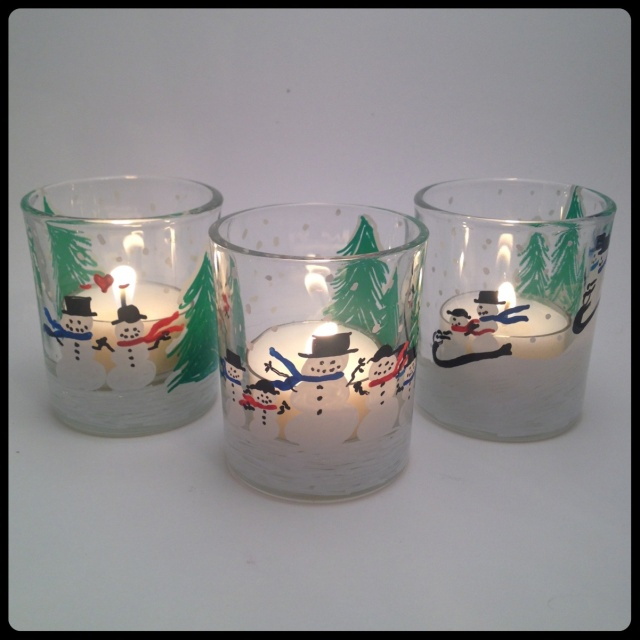 Handmade Snowman Votive Trio Aglow