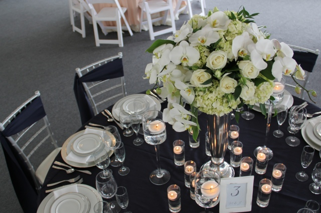 Navy, White & Silver Tabletop by Jen's Blossoms