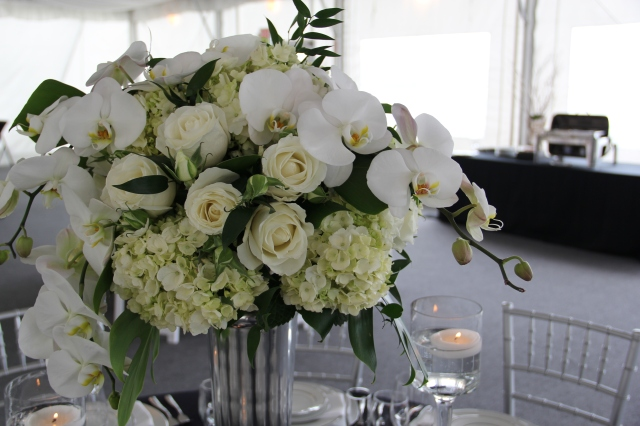 Elevated Arrangement of Hydrangea, Roses & Phalaenopsis Orchids by Jen's Blossoms
