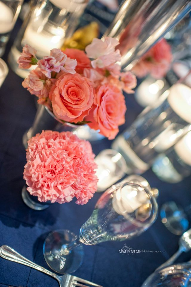 Coral Centerpiece by Jen's Blossoms || Photo by Rikki Rivera Photography