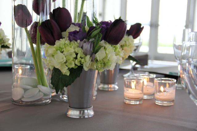Tulip, Lisianthus, & Mini Hydrangea Centerpiece