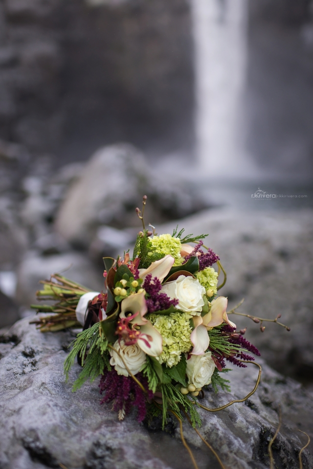 Bouquet at base of Snoqualmie Falls.  Bouquet by Jen's Blossoms || Photo by r.k. rivera photography