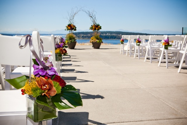 Aisle Decor at Chambers Bay || Flowers by Jen's Blossoms || Photo by: Tasha Owen Photography