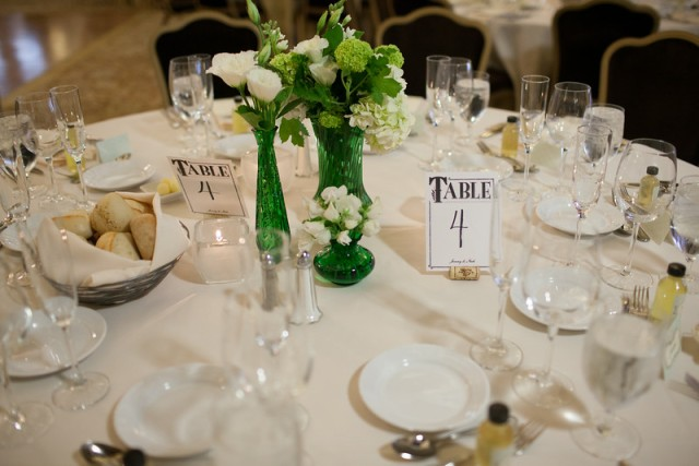 Vintage Green Glass Vase Centerpieces || Flowers, Design & Planning by Jen's Blossoms || Photo by: Shelby Brakken Photography